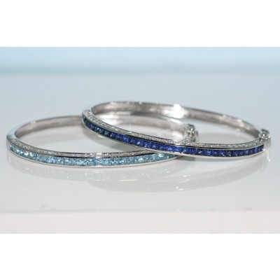 Diamond and Sapphire Bangle in 14k White Gold