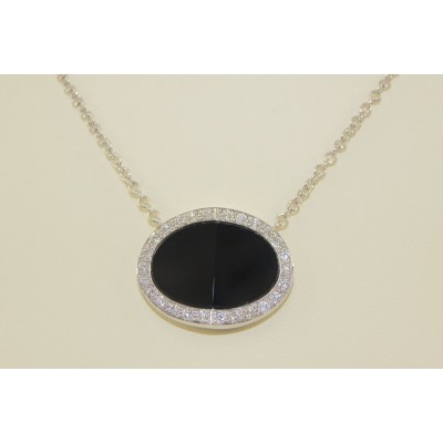 Diamond and Oval Onyx Pendant in 18k White Gold