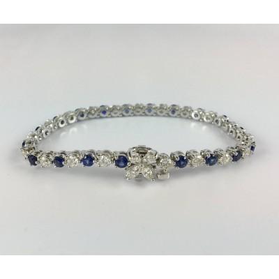 18 Karat White Gold Diamond and Sapphire Tennis Bracelet