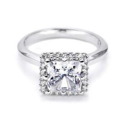 Princess ,Halo engagement ring.