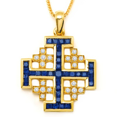 Diamond and Sapphire Cross Necklace