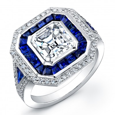 Ascher cut diamond  and Sapphire ring.