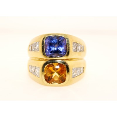 18K Yellow Gold with Topaz and Tanzanite  Diamond Ring