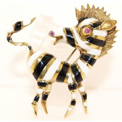14K Yellow Gold Vintage Zebra Pin