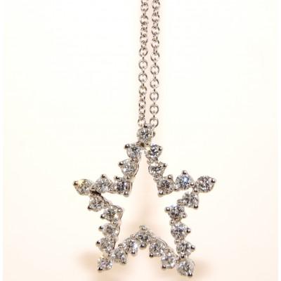 18K White Gold Diamond Star Necklace