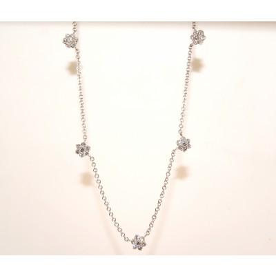 18 Karat White Gold Flower Motif Diamond Necklace
