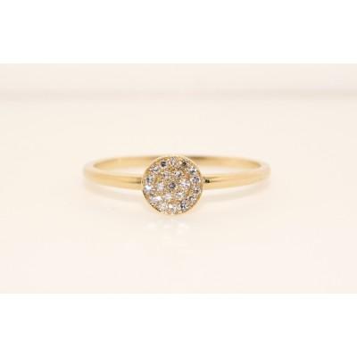 14K Yellow Gold Diamond Disc Ring