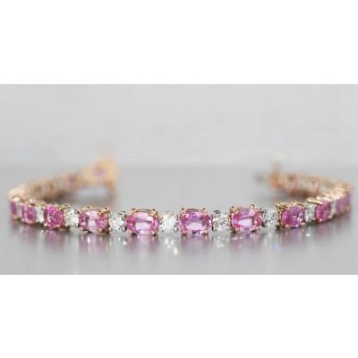 Pink Sapphire Diamond Bracelet