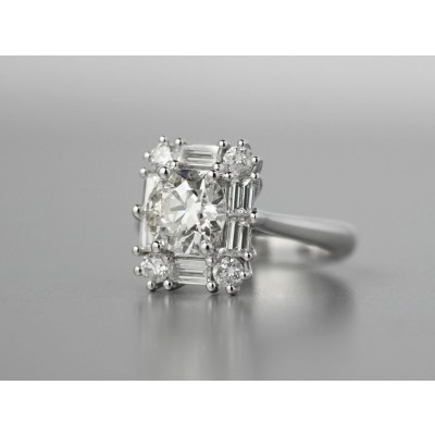 Platinum diamond engagement ring.