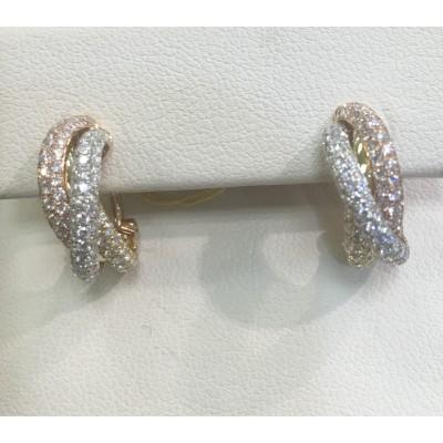 18 karat tricolor diamond earrings