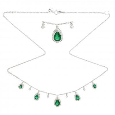 Emerald and diamond dangle necklace