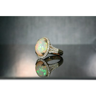 Diamond and Opal Ring.