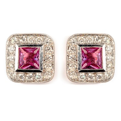 White Gold Diamond and Pink Sapphire Earrings