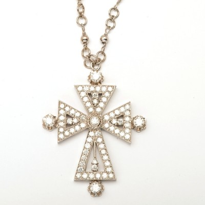 18K Diamond White Gold Cross Necklace