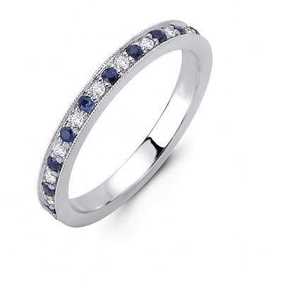 18K White Gold Diamond and Sapphire Band