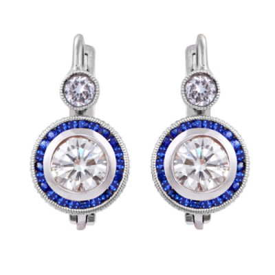 Platinum Diamond and Sapphire Earrings