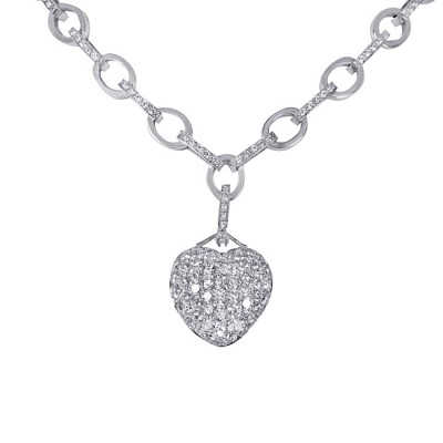 18 karat diamond heart necklace with diamond link chain.