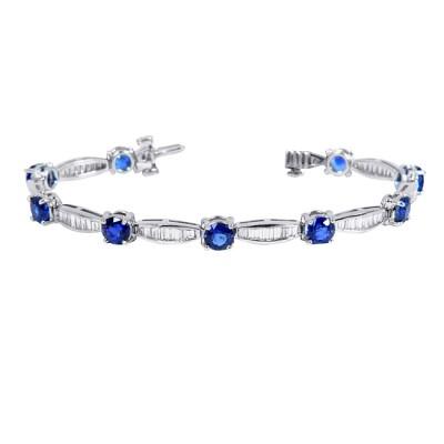 Platinum Diamond and Sapphire Bracelet
