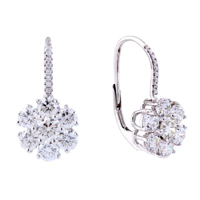 18K White Gold Diamond Drop Earrings