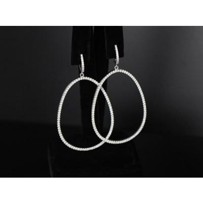 Oval shape Diamond hoops