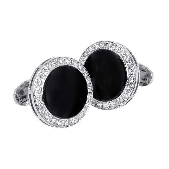 18 karat white gold diamond and onyx cufflinks.