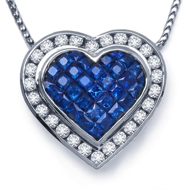 DIamond and Sapphire Heart Pendant