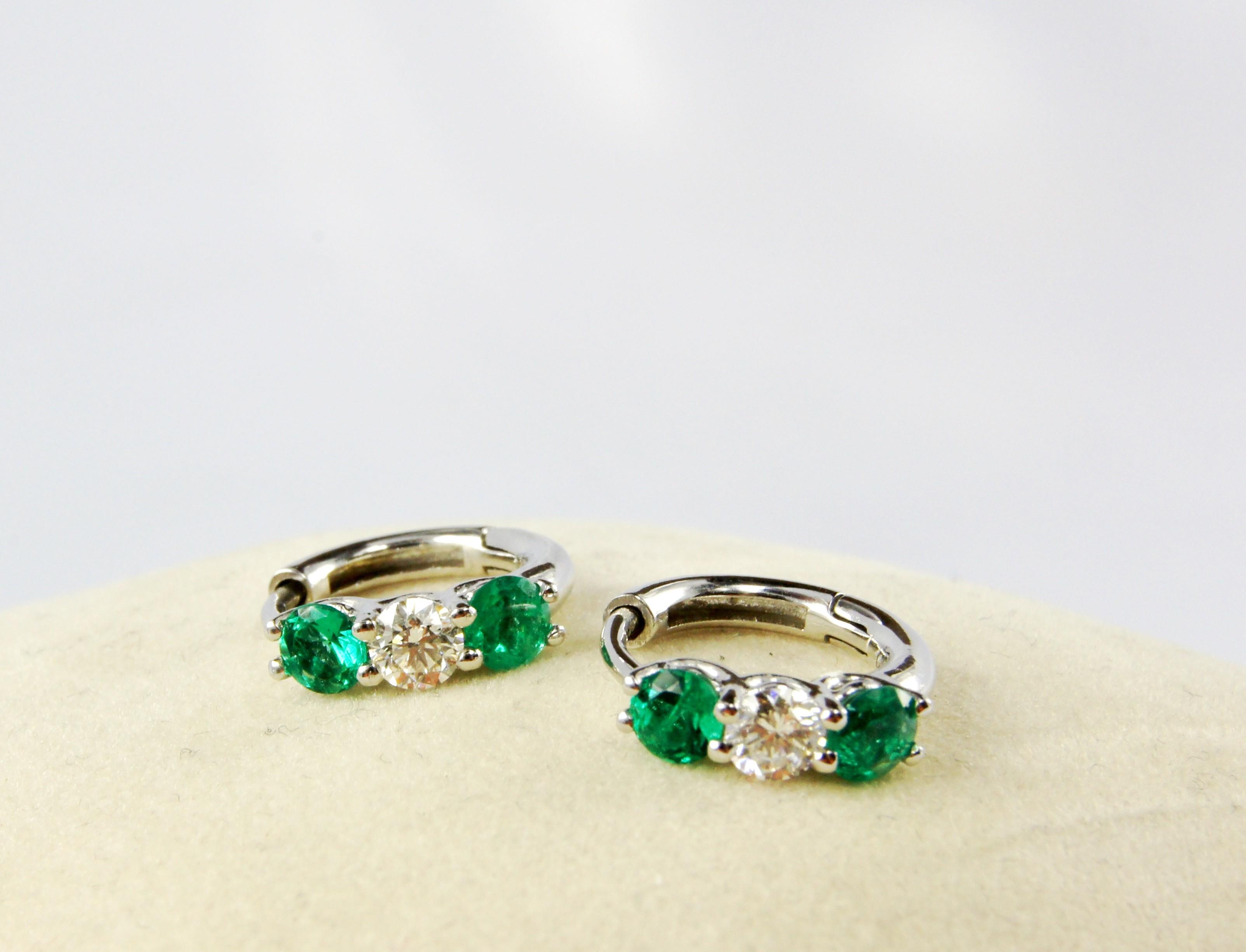 18K White Gold Diamond and Genuine Emerald loop earrings