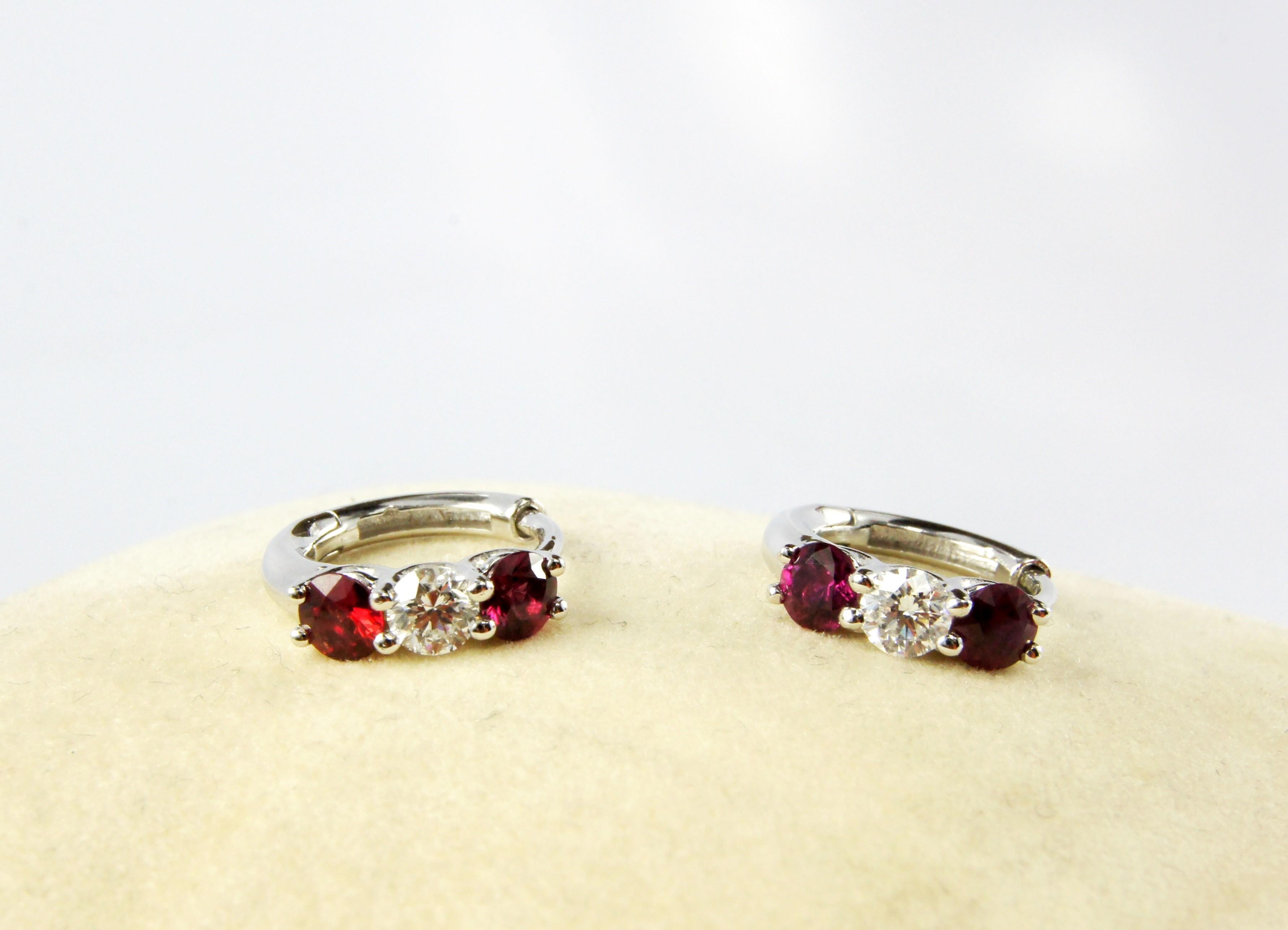18K White Gold Diamond and Genuine Ruby loop earrings