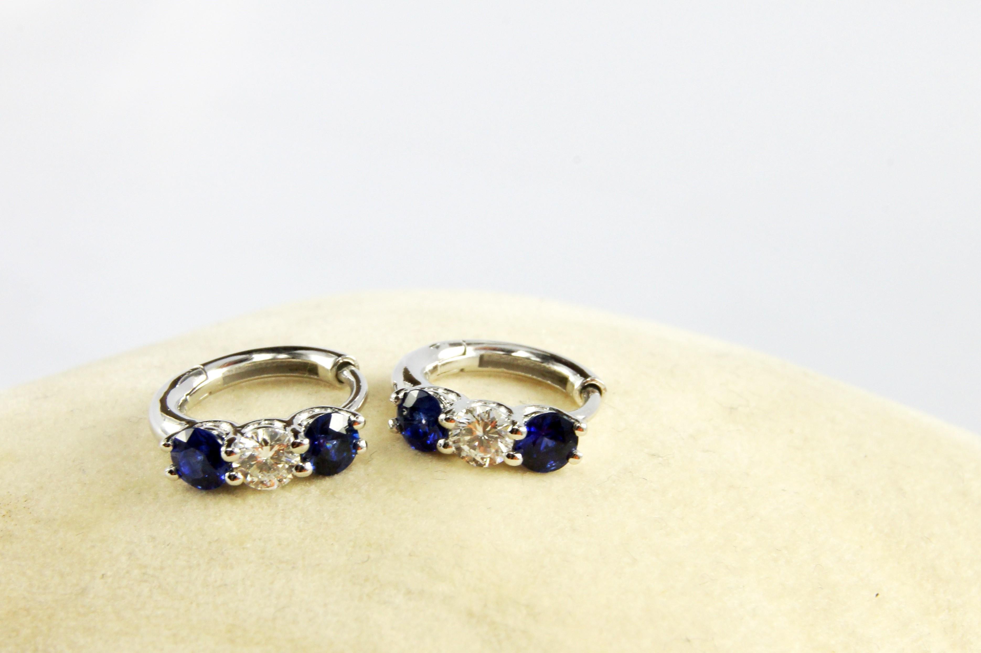 18K White Gold Diamond and Genuine Sapphire loop earrings