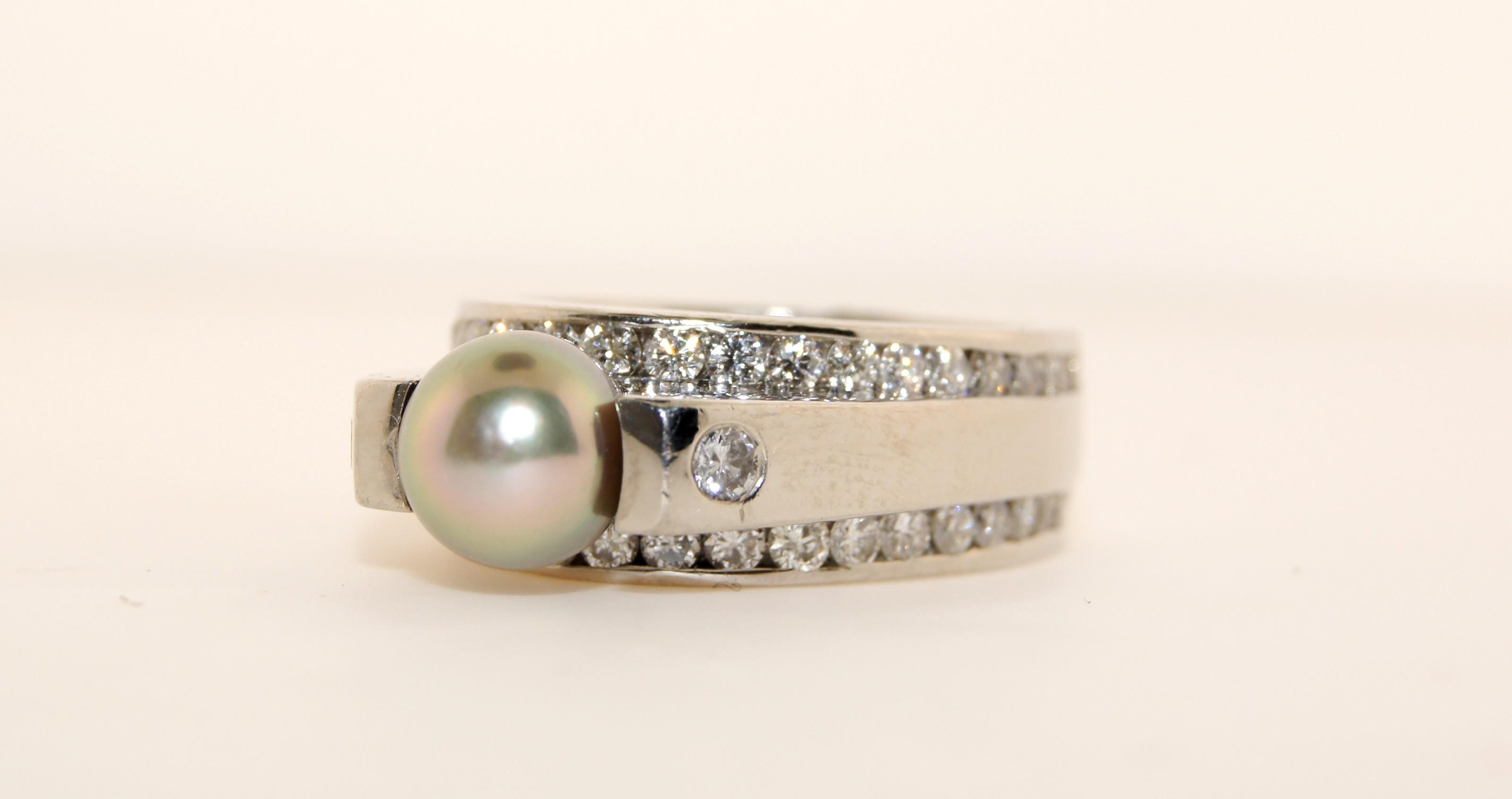 Platinum Diamond with Pearl Ring