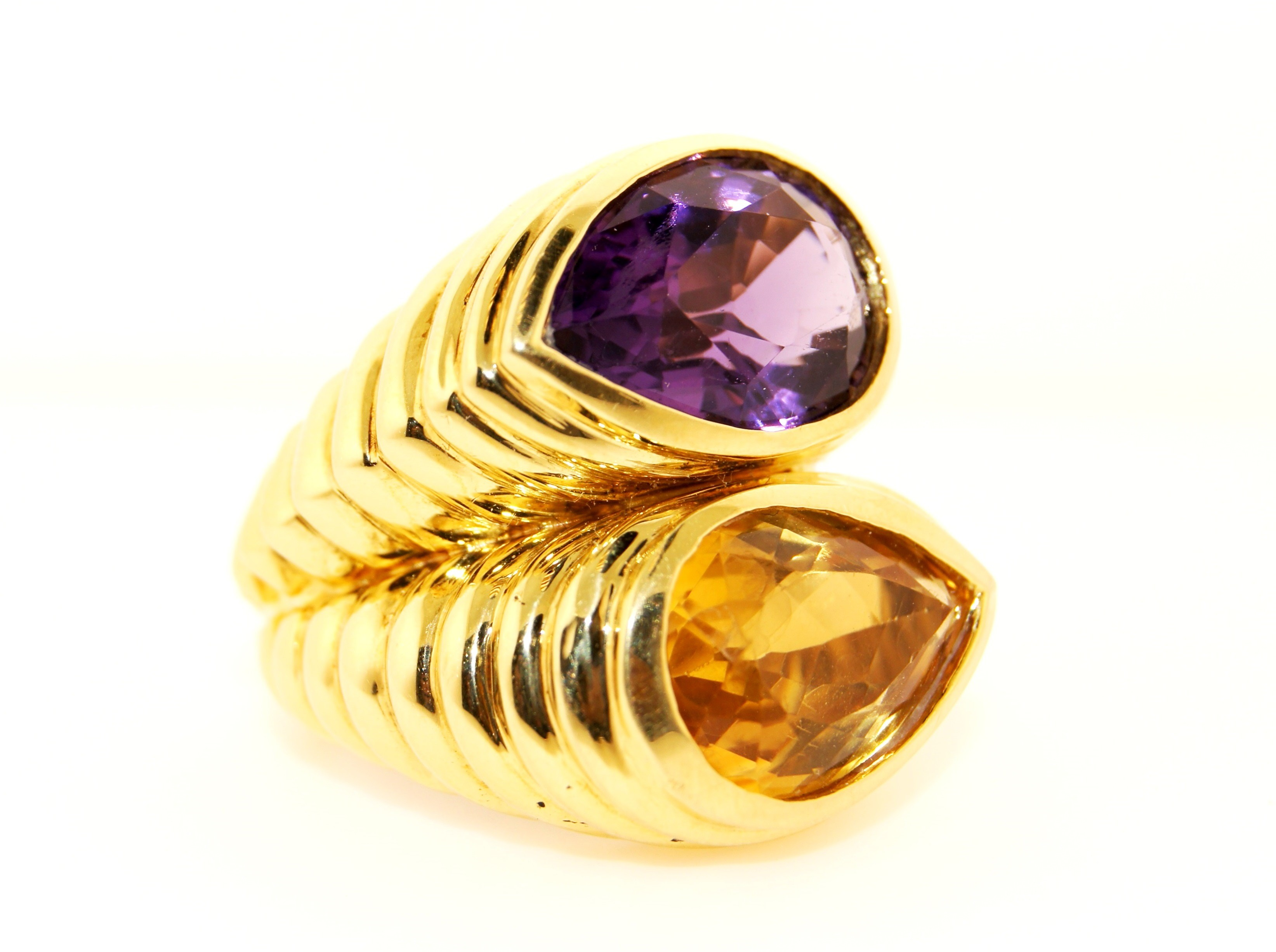 18K Yellow Gold with Topaz and Amethyst Ring
