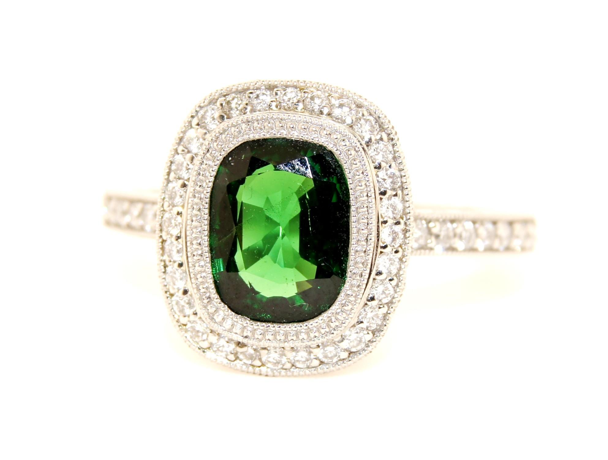 Platinum Tsavorite Diamond Ring
