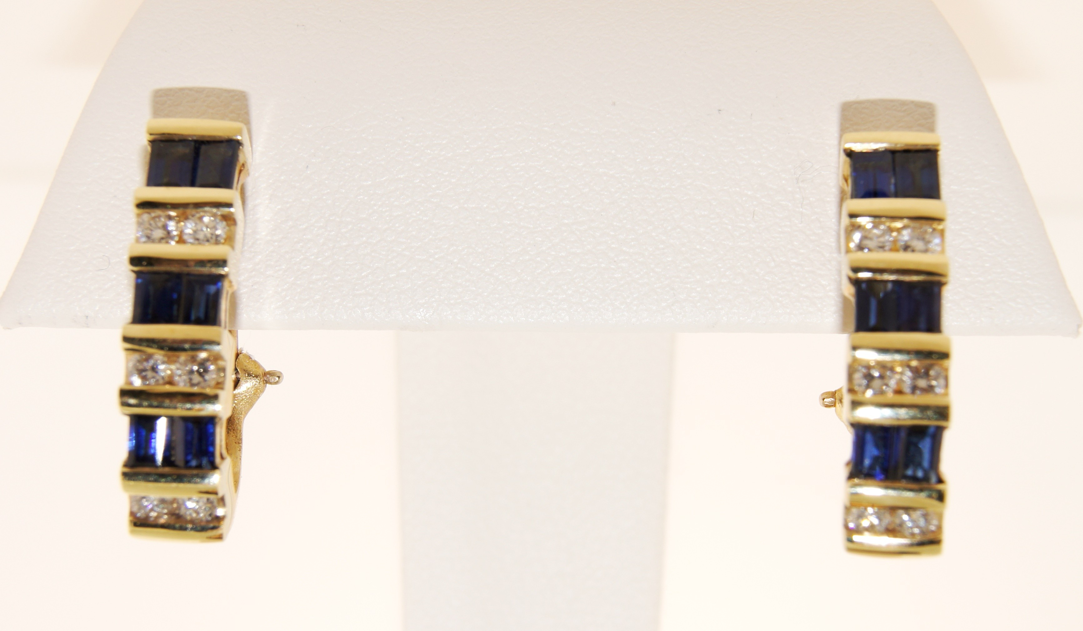 Yellow Gold Diamond and Sapphire Earrings