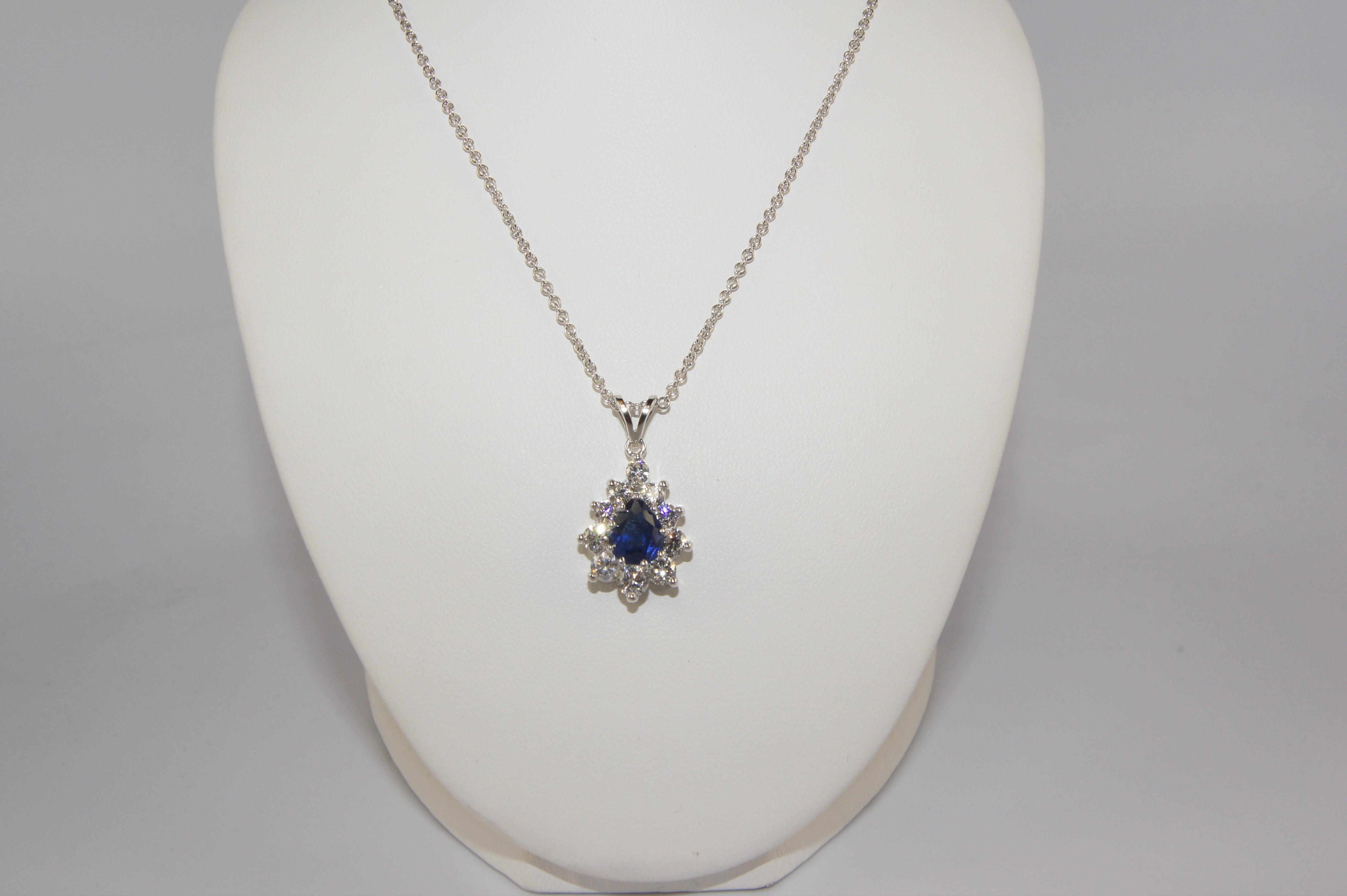 Pear Shape Diamond and Sapphire pendant.
