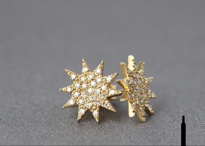 Pave star earrings
