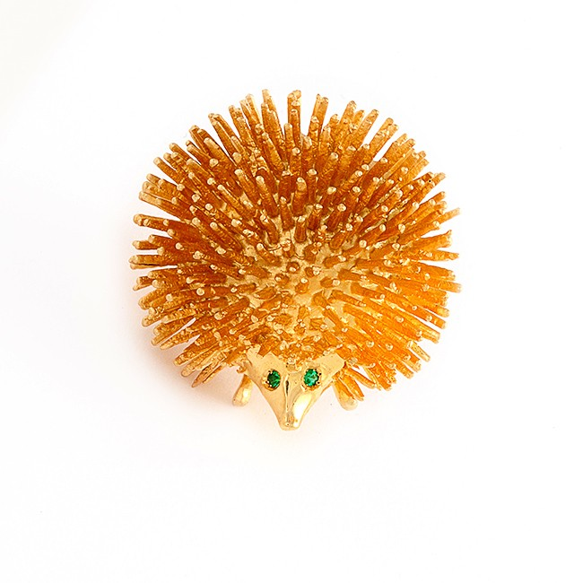 Yellow Gold Porcupine Pin