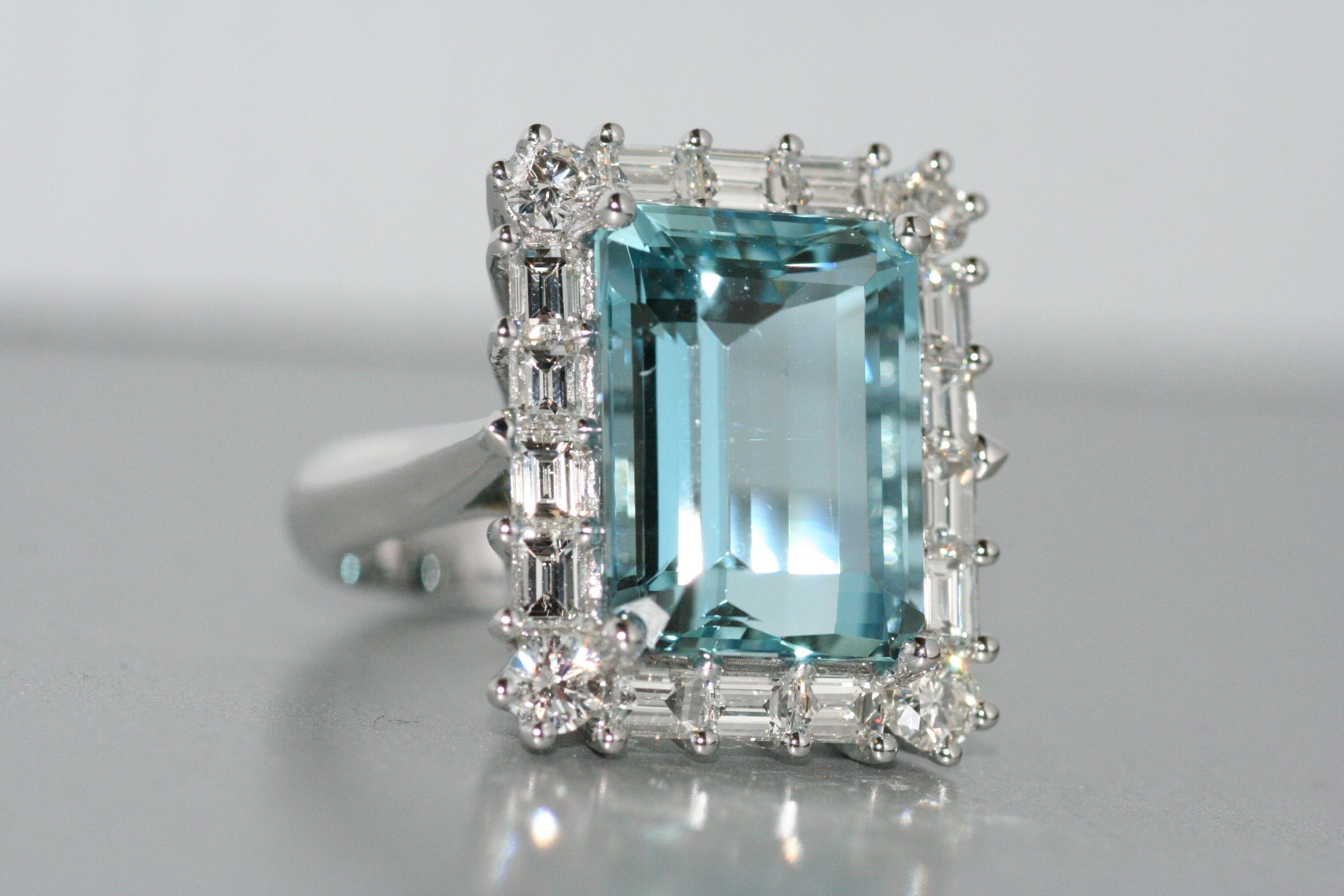 Handmade Aquamarine and diamond ring.