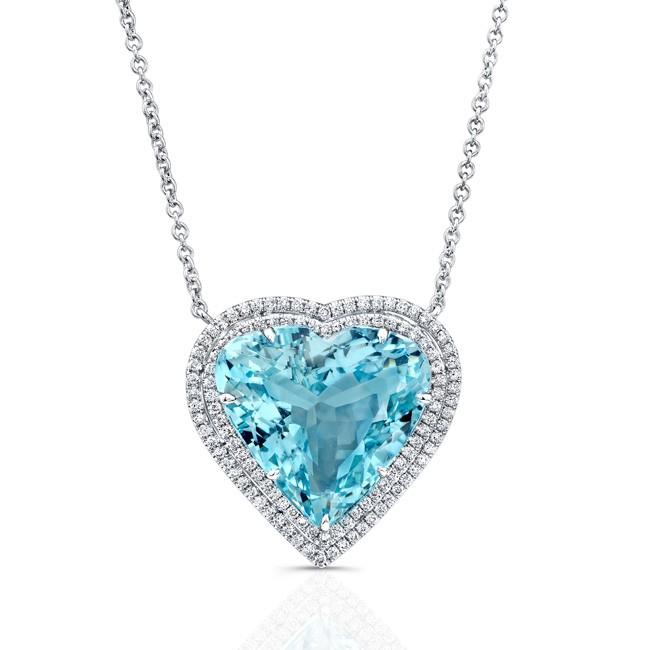 Aquamarine Heart Pendant