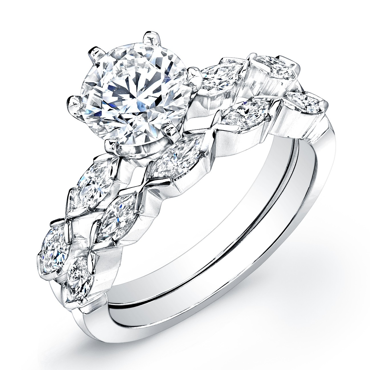 18k White Gold Diamond Wedding Set