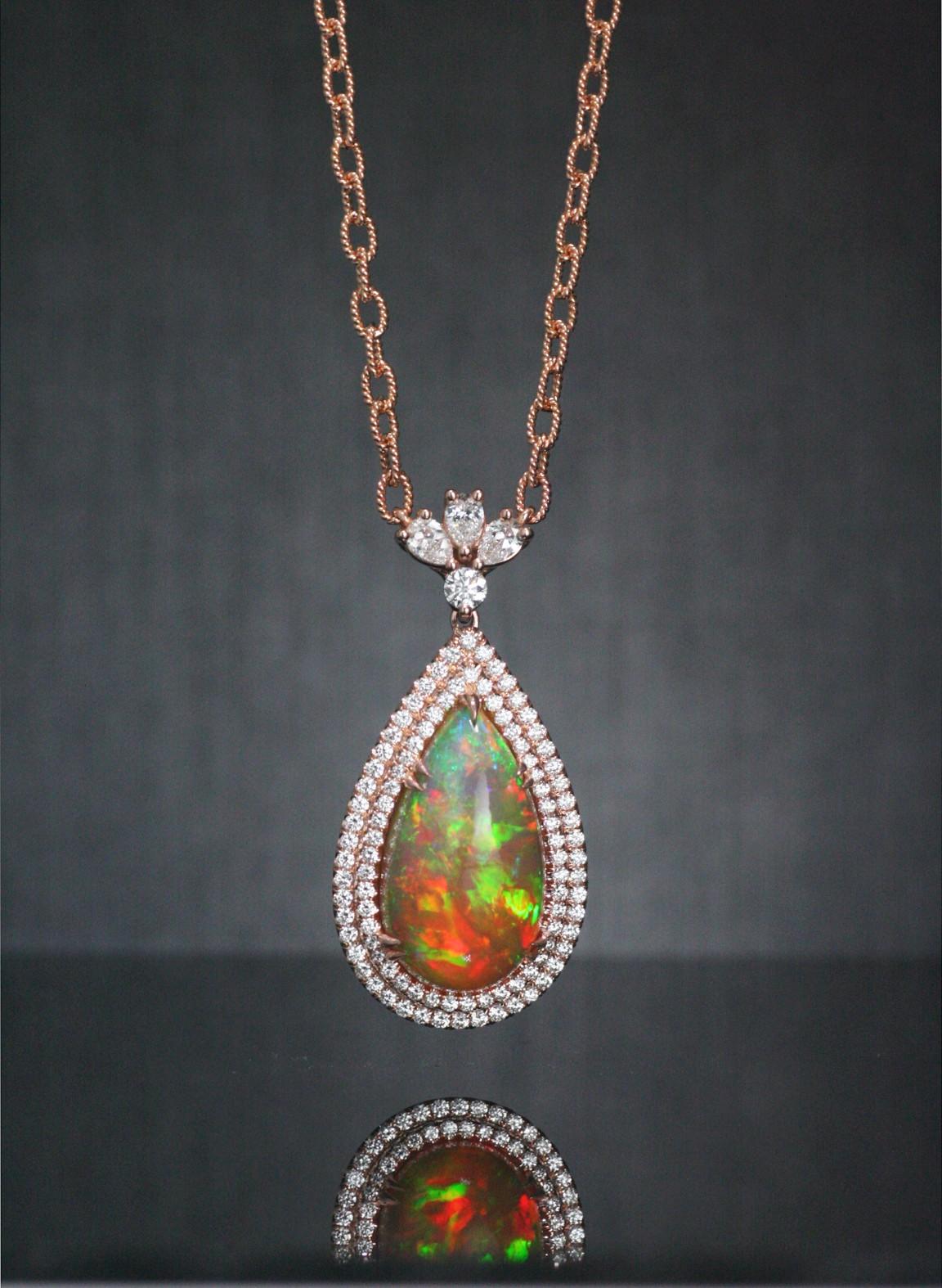 Pear shape opal pendant.