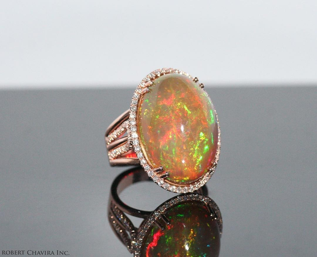 Opal and Diamond Ring.