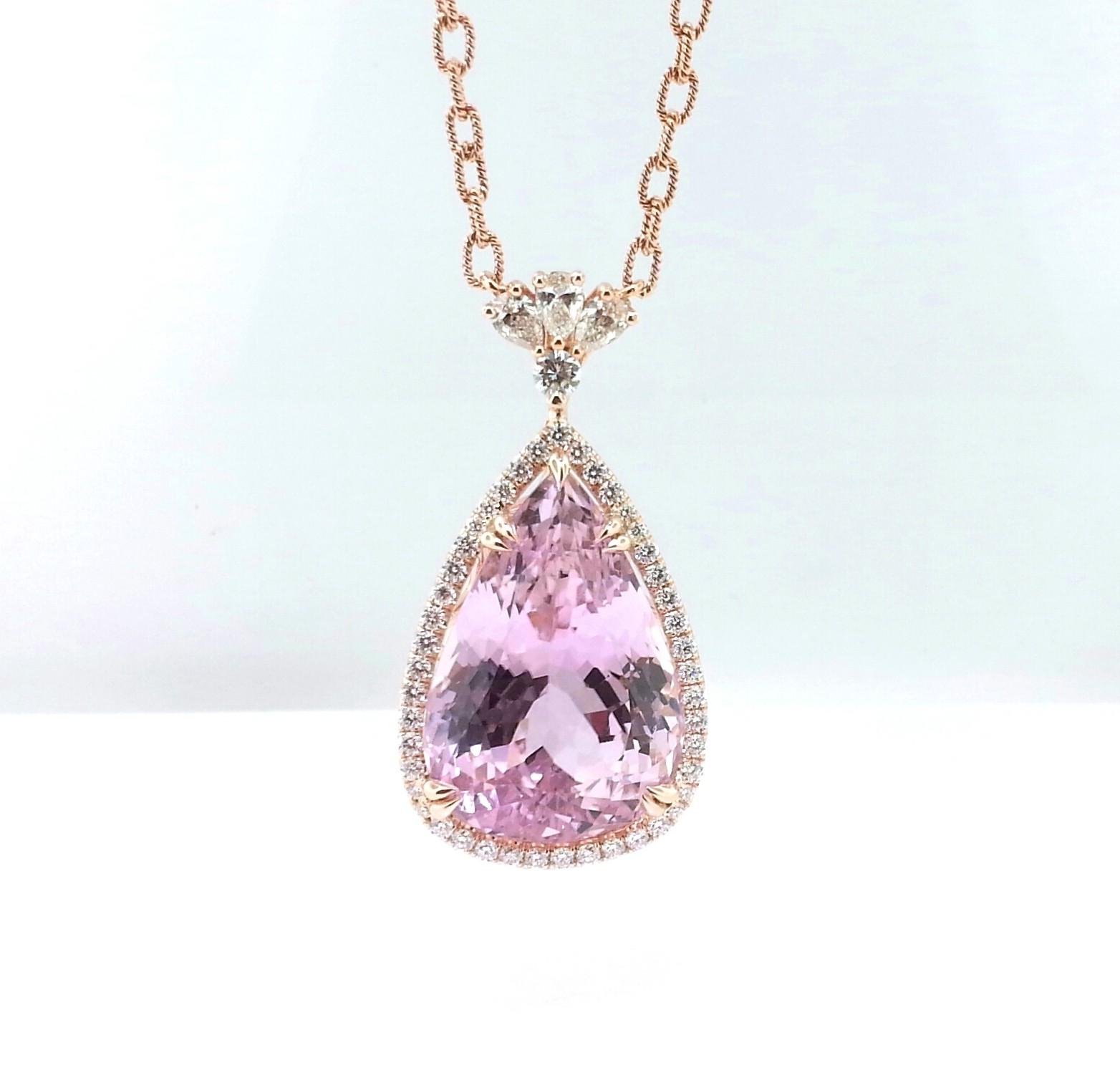 18 Karat Rose Gold Diamond and Kunzite Necklace.