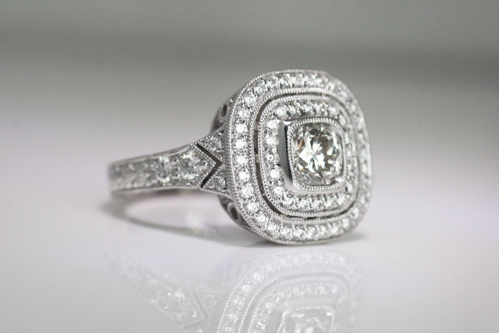 A Diamond platinum ring.