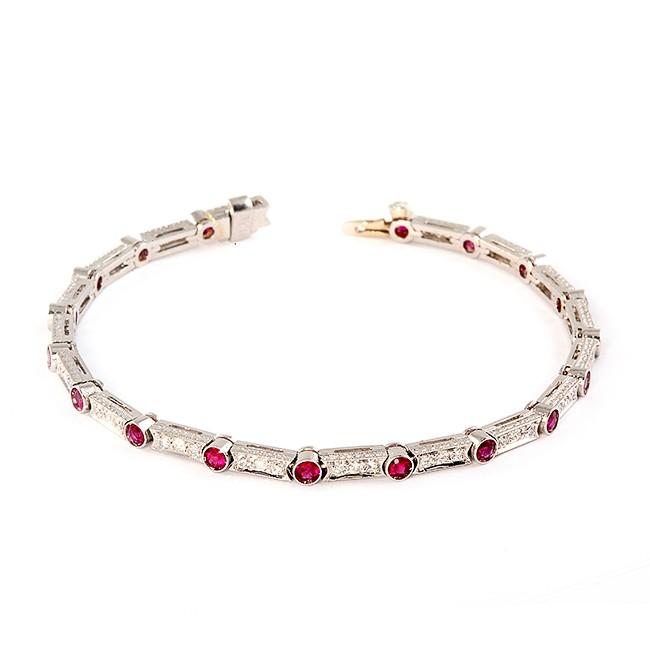 Platinum Ruby and Diamond Bracelet