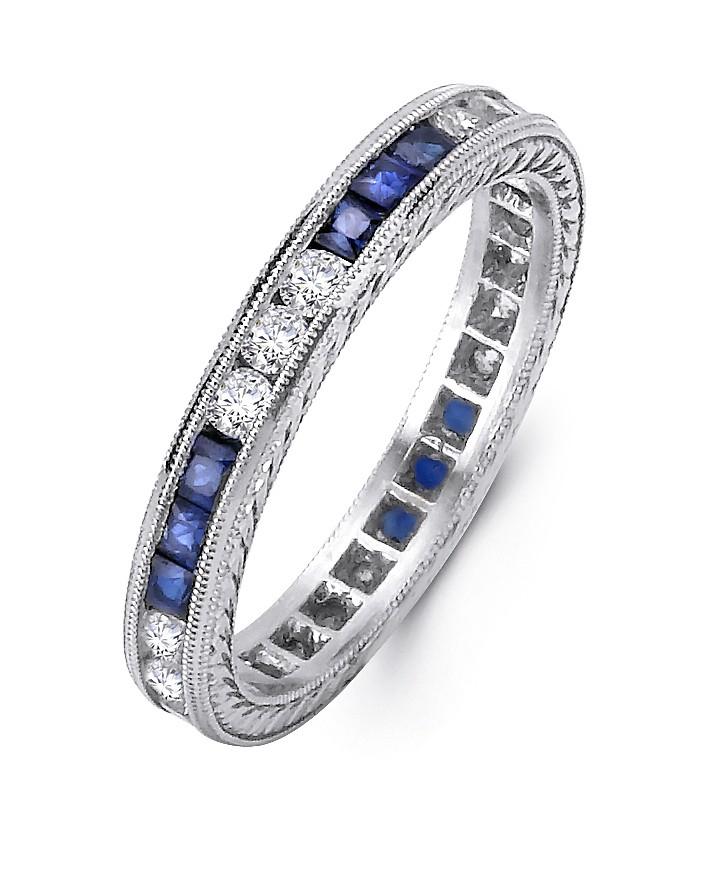 Platinum and Diamond Sapphire Band