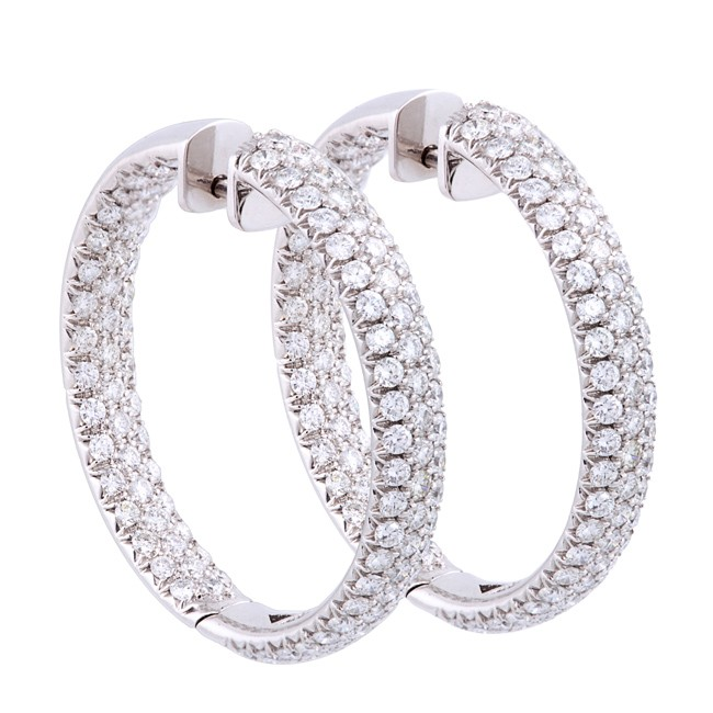 14K White Gold Diamond Hoop Earrings