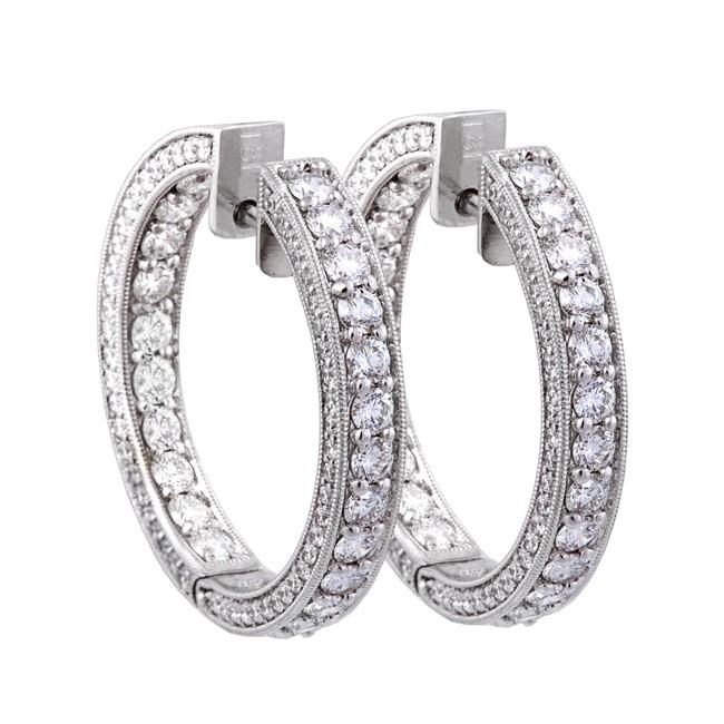18K White Gold Diamond Hoop Earrings