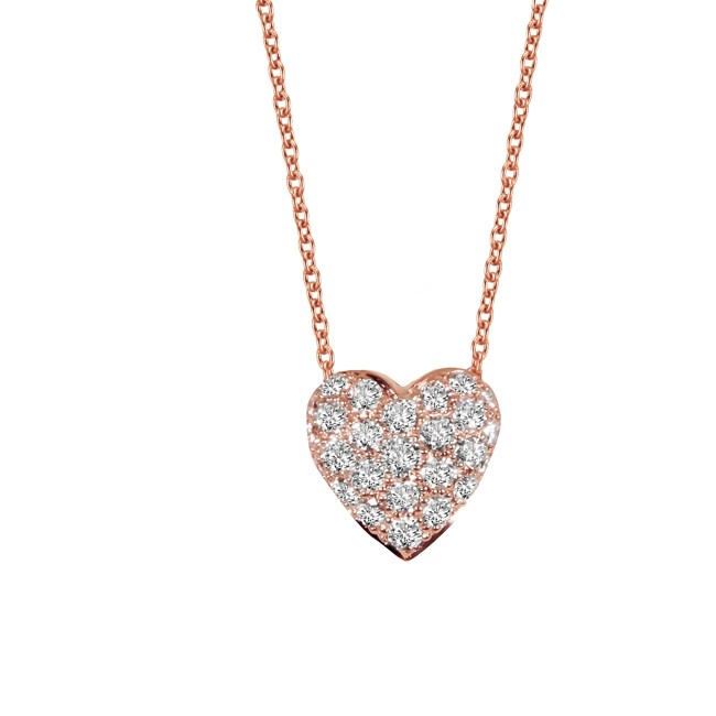 18K Rose Gold Diamond Heart Pendant