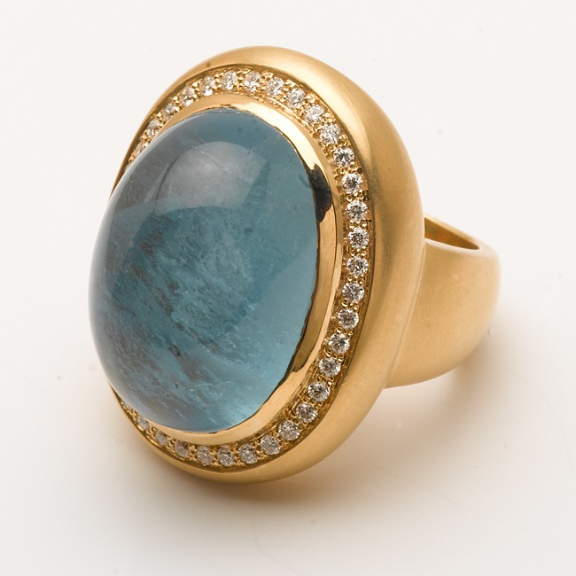 18K Yellow Gold Handmade Cabochan Aqua Ring
