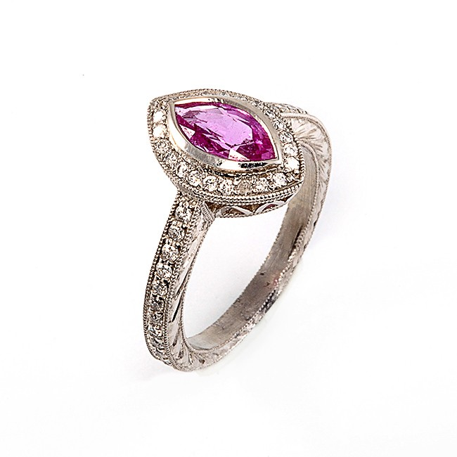 Platinum Diamond and Pink Sapphire Ring